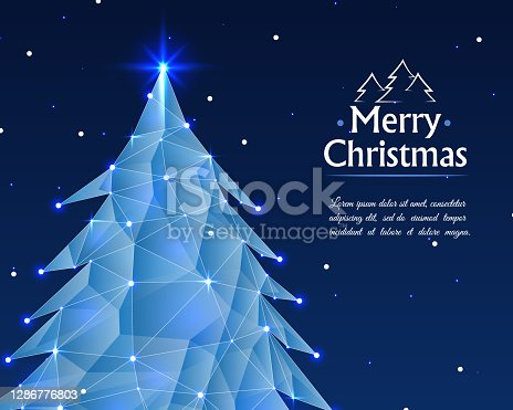 istock Abstract christmas tree with lights background. Christmas tree background greeting card. Christmas tree consisting of points, lines and shapes. Nature year concept. Vector illustration 1286776803