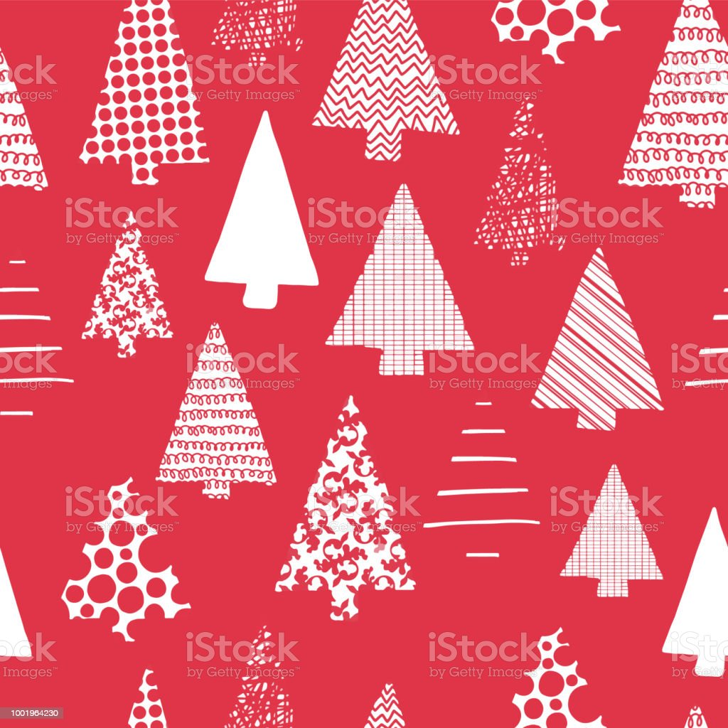 Abstract Christmas Trees Vector Seamless Pattern White Christmas ...