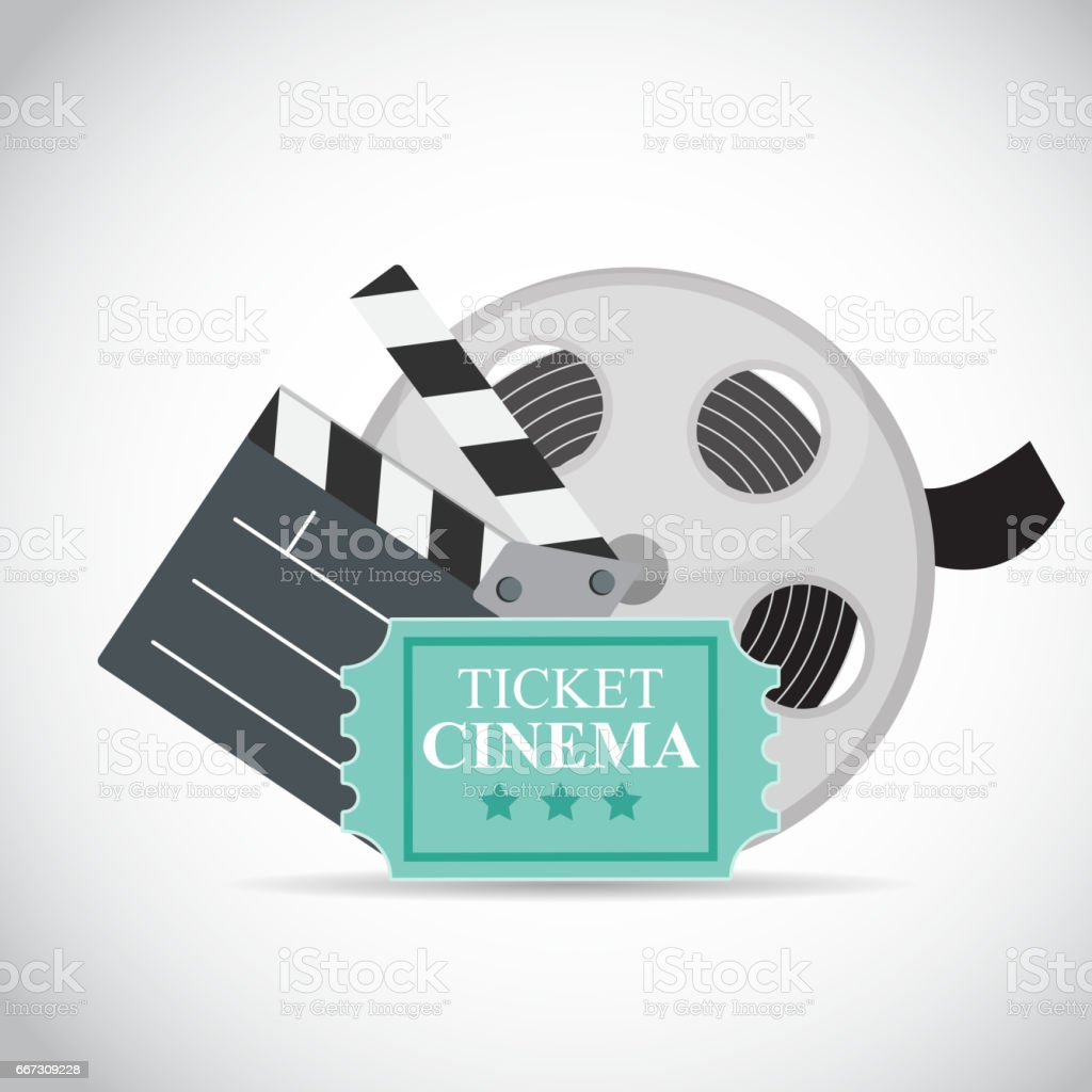 Abstract Cinema Flat Background With Reel Old Style Ticket