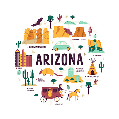 Abstract circle design with landmarks and symbols of Arizona state, USA. Grand Canyon, Apache Reservation, Sedona National park, Hoover Dam, Phoenix city