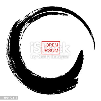 istock Abstract circle drawn by brush in Japanese Chinese tradition, vector illustration 1195473814