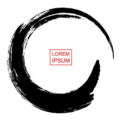 Abstract circle drawn by brush in Japanese Chinese tradition, vector illustration