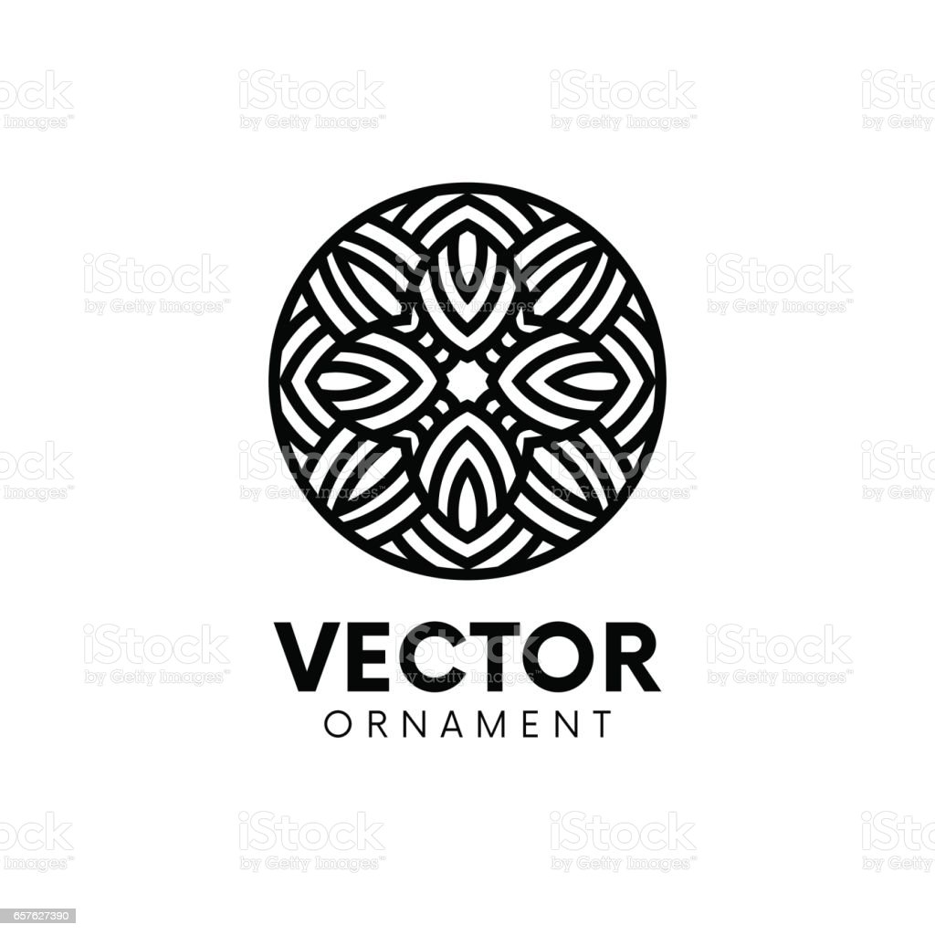 Abstract circle logo emblem sign line art design. vector art illustration