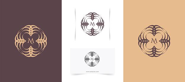 Abstract Circle Floral Logo Design Template.