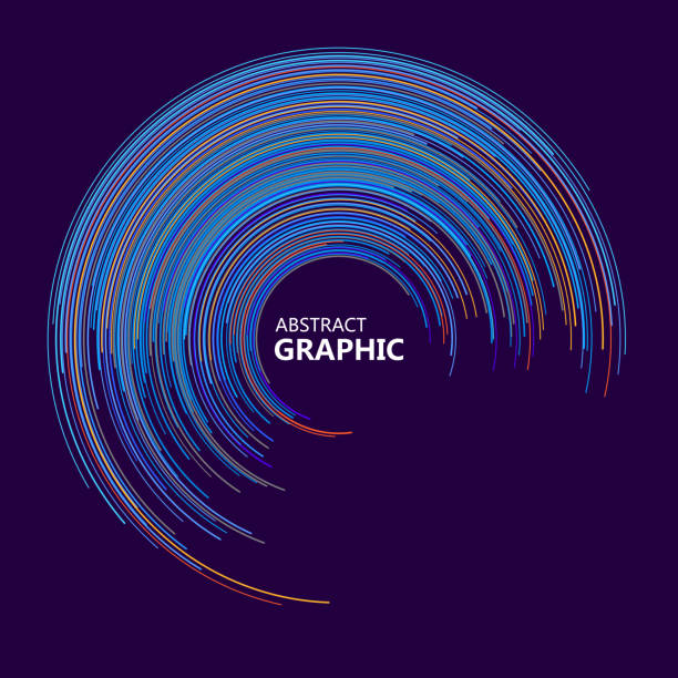 Abstrakte Kreis-Grafik, bestehend aus bunten Kreislinien, Vektorillustration. – Vektorgrafik