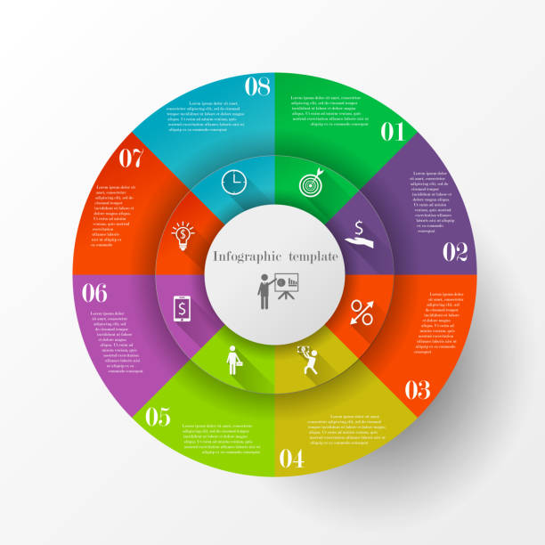 abstract circle infographic template - oś czasu pomoc wizualna stock illustrations