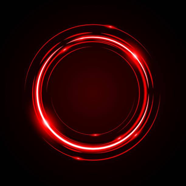 illustrazioni stock, clip art, cartoni animati e icone di tendenza di abstract circle light red frame - aureola