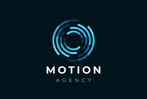 Abstract circle motion logotype. Creative dynamic round logotype. Connection symbol.