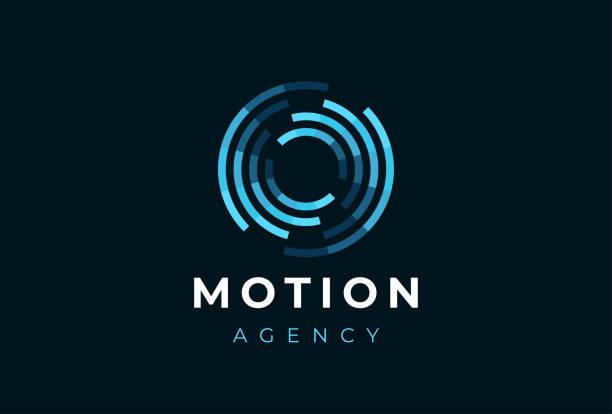abstrakcyjny logoplotu ruchu okręgu. kreatywny dynamiczny okrągły logotyp. symbol połączenia. - ruch stock illustrations