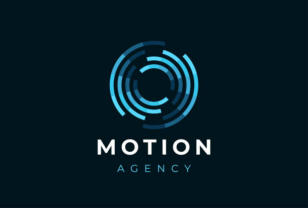 abstract circle motion logotype. creative dynamic round logotype. connection symbol. - motion stock illustrations