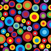 Vector Seamless Pattern of colorful abstract circles on a black background.