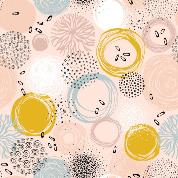 Abstract Circle Seamless Pattern_01 Creative seamless pattern. natural pattern stock illustrations
