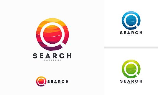Abstract Circle Search logo designs concept vector, magnifying logo symbol