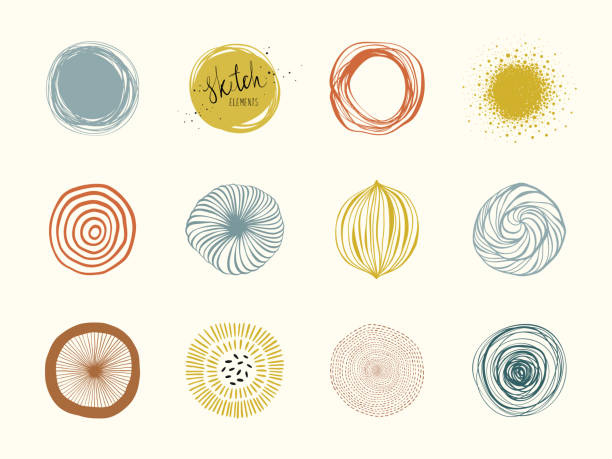 Abstract Circle Shapes 01 Artistic circle elements. Use for social media posts, Highlights cover icons, posters, prints, greeting and business cards, banners, labels and other graphic designs. natural pattern stock illustrations