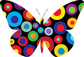 Vector illustration of a colorful abstract circles burst butterfly.