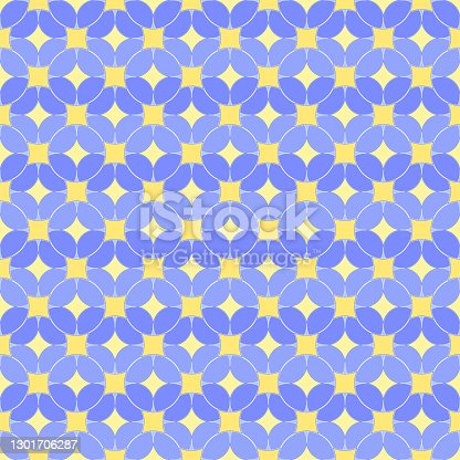 abstract circles. vector seamless pattern. blue and yellow repetitive background. fabric swatch. wrapping paper. continuous print. geometric shapes. design element for home decor, textile, apparel