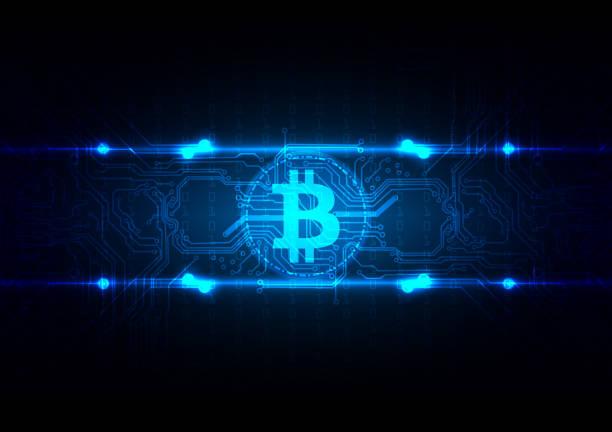 stockillustraties, clipart, cartoons en iconen met abstracte circuit bitcoin technologie achtergrond illustratie vector design - bitcoin