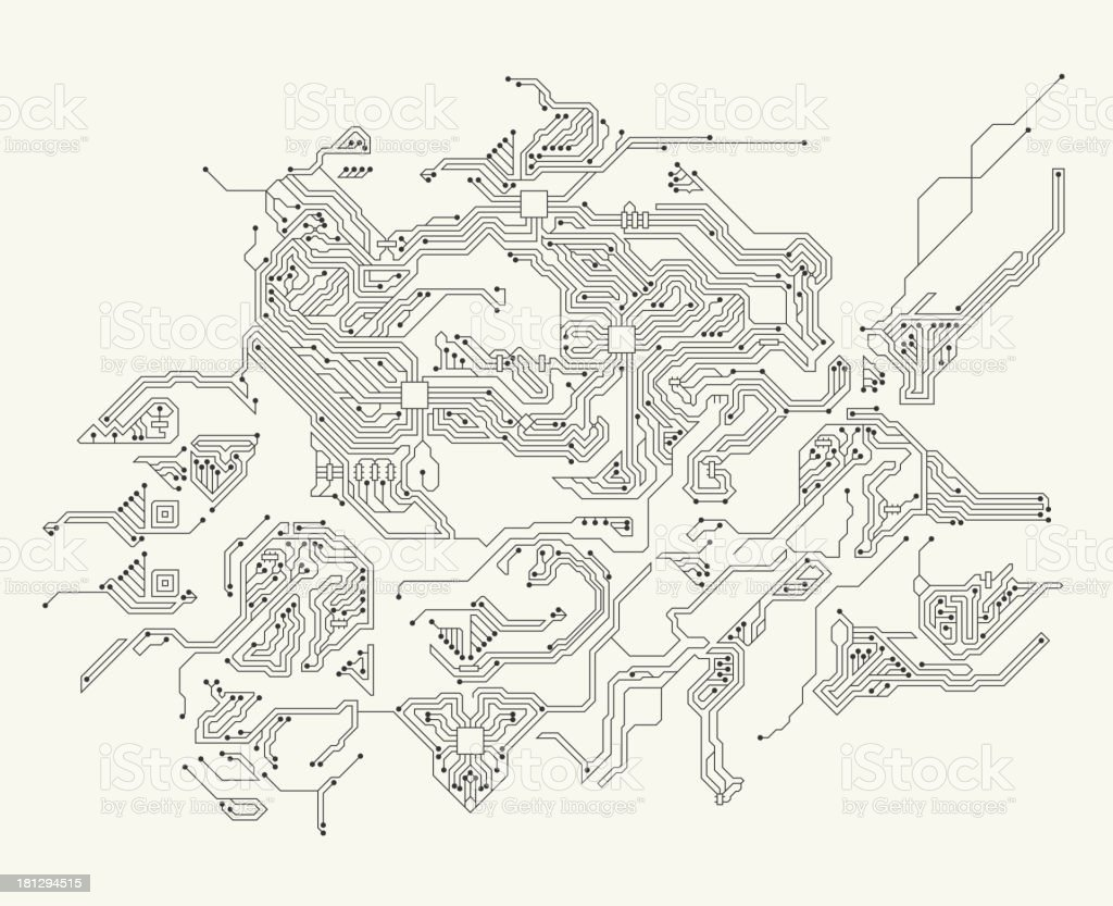 Abstract Circuit Board Black and White Technology Background vector art illustration
