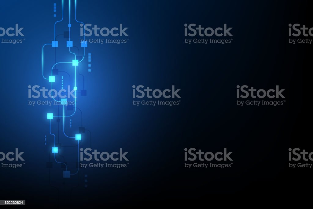 abstract circuit networking blockchain concept background vector art illustration