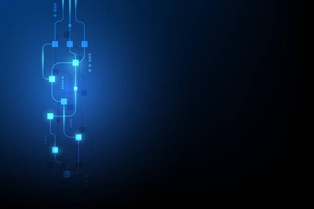 stockillustraties, clipart, cartoons en iconen met abstracte circuit networking blockchain concept achtergrond - blockchain