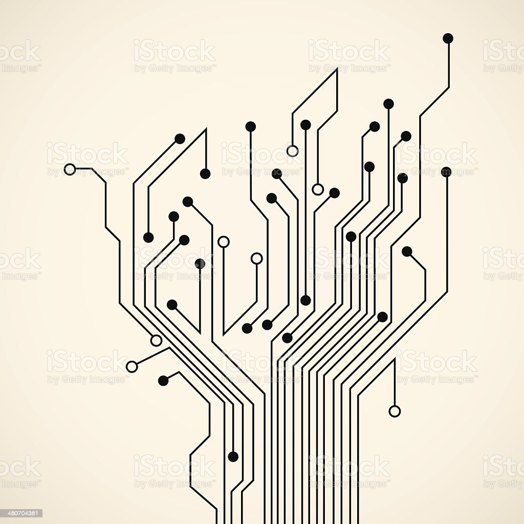 Abstract circuit tree vector art illustration
