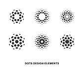 Set of abstract circular halftone dots design elements. Digital flower icons design. Dotted logo templates.  Vector illustration.
