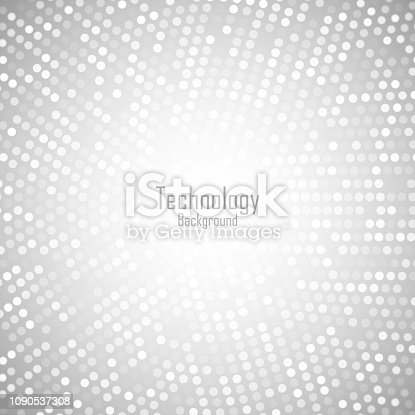 istock Abstract Circular Light Gray Background. Technology grey digital circle pixels pattern. Big data. Vector illustration. 1090537308