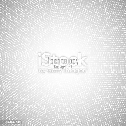 istock Abstract Circular Light Gray Background. Technology grey digital circle pixels pattern. Big data. Vector illustration. 1090537310