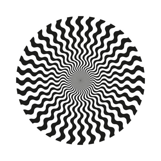 Abstract circular line pattern Abstract black and white monochrome circular wavy line pattern. Isolated object on a white background, vector illustration psychedelic stock illustrations