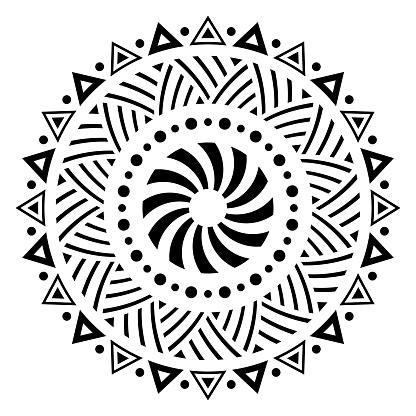 Abstract circular ornament. Ethnic mandala.