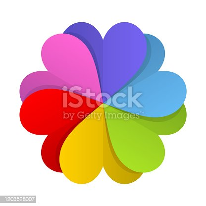 Six paper hearts combined to a flower or pinwheel shape. Red, pink, purple, blue, green and yellow colors used. Vector illustration.