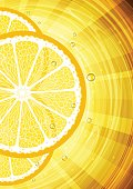 Yellow vector background with lemon.