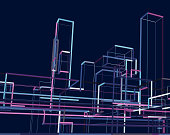 abstract city building group background