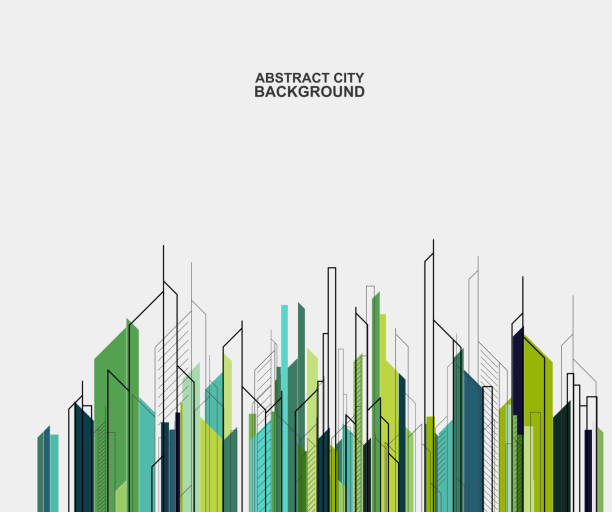 abstract city building skyline background abstract city building skyline background architecture backgrounds stock illustrations
