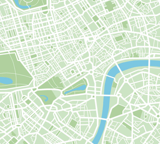 stockillustraties, clipart, cartoons en iconen met abstract city kaart - illustratie - roadmap
