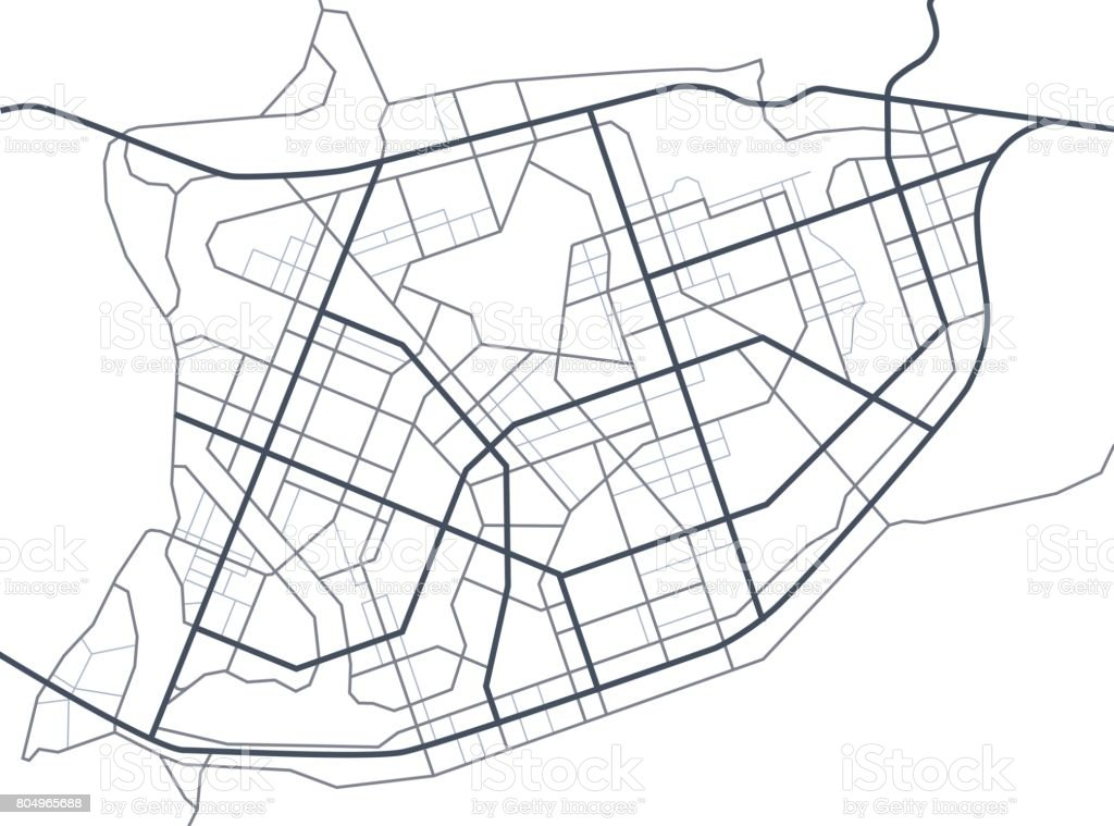 Abstract City Map Town Streets On The Plan Map Of The Ficious ... on