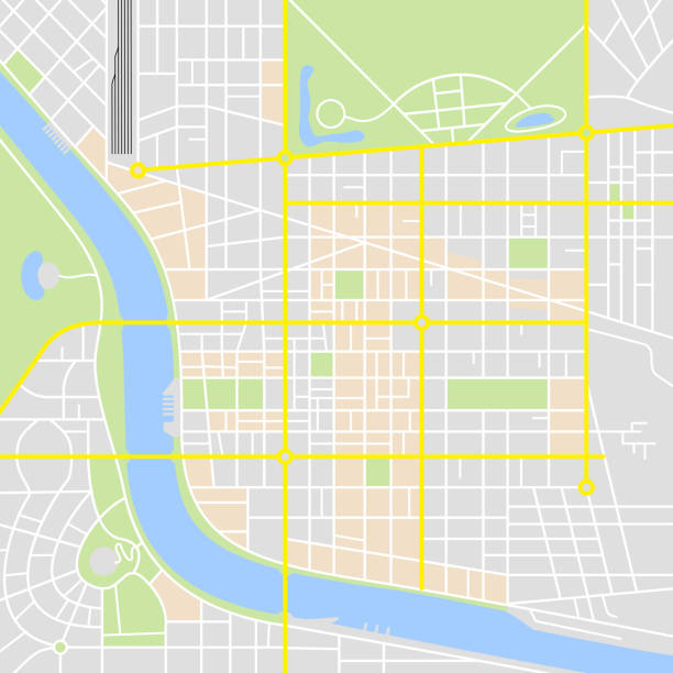 Abstract City Map Abstract city map with rivers and parks with classic map application colors range. generic description stock illustrations