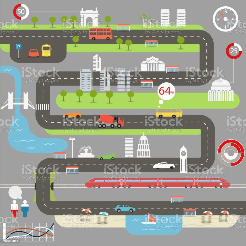Abstract city map vector art illustration