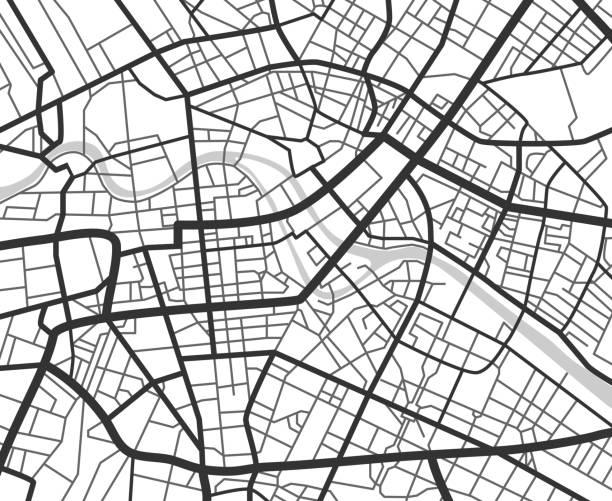 ilustraciones, imágenes clip art, dibujos animados e iconos de stock de mapa de navegación ciudad abstracto con líneas y calles. esquema de planificación urbano vector blanco y negro - mapas vintage