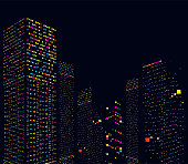 abstract city office building in night pattern background