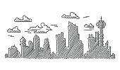 Abstract City Skyline Drawing