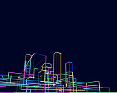 abstract city skyline in night