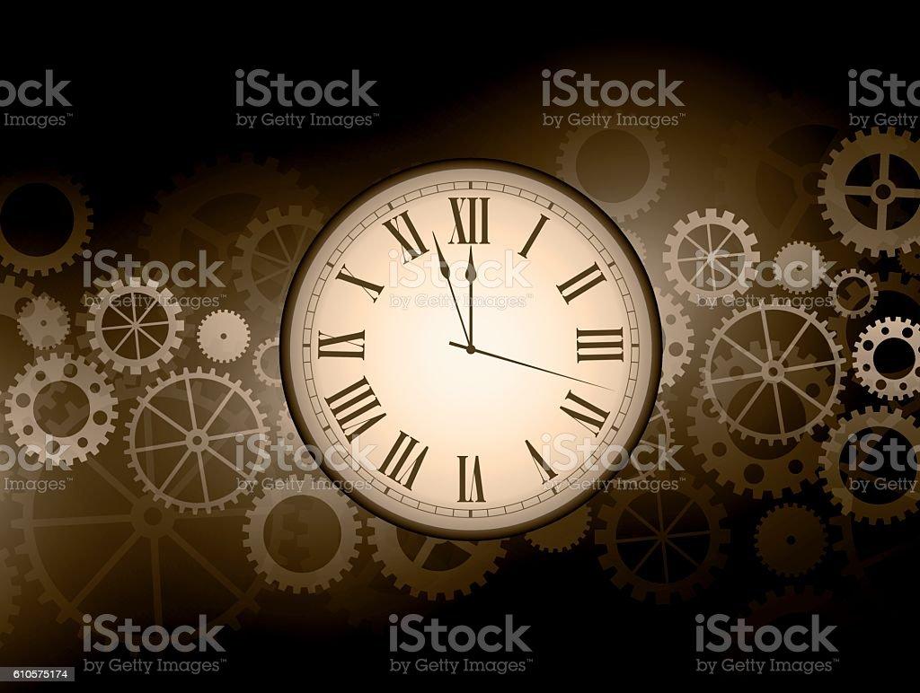 Abstract clock background vector art illustration