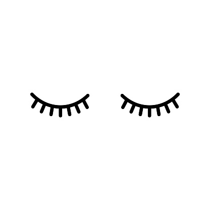 Abstract closed eyes with lashes.