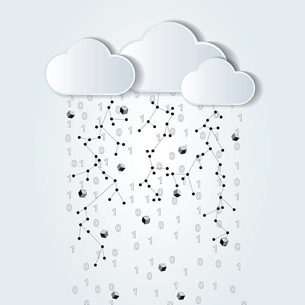 abstract cloud computing black and white illustration vector art illustration