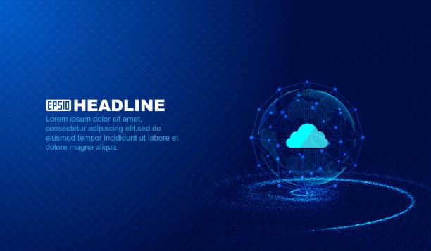 Dados de nuvem abstrata, ponto - conexão de linha, o fundo de vector de conceito de inovação científica e tecnológica - ilustração de arte em vetor