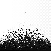 Abstract cloud of pieces and fragments after explosion. Demolition black surface. Shatter and destruction effect. Vector illustration isolated on transparent