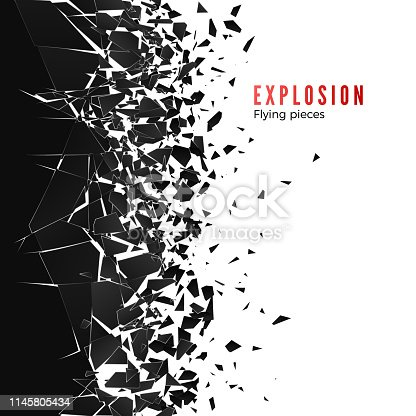 istock Abstract cloud of pieces and fragments after wall explosion. Shatter and destruction effect. Vector illustration 1145805434