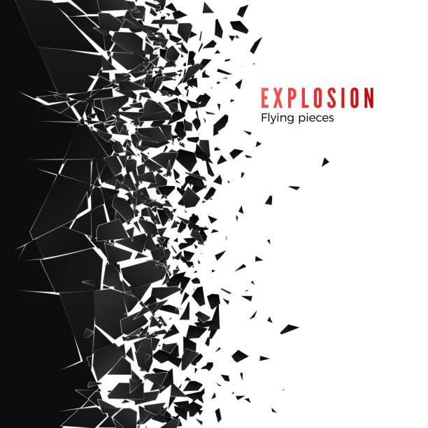 stockillustraties, clipart, cartoons en iconen met abstracte wolk van stukken en fragmenten na muur explosie. verbrijzelen en vernietigen effect. vector illustratie - gebroken