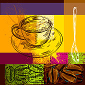 Abstract Coffee Background, all shapes are in seperate layers. This is EPS 10 file, opacity reduced on some layers. no transparency modes used. Please visit my portfolio for more options.